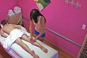 Petite Asian Masseuse Jerks Client For Cash