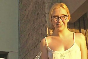 Nerdy Blonde Teen In High Heels Toying Her Pussy Outdoors And Posing