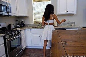 Sexy Petite Asian Teen Fucks Herself On Kitchen Table