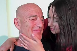 Old Man Fucks His Teen Wife On The Kitchen Table
