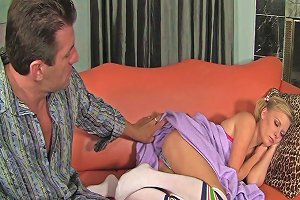 Lingerie Clad Blonde Teen With A Shaved Pussy Enjoying A Fantastic Threesome