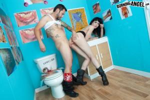 goth slut fucked in a toilet